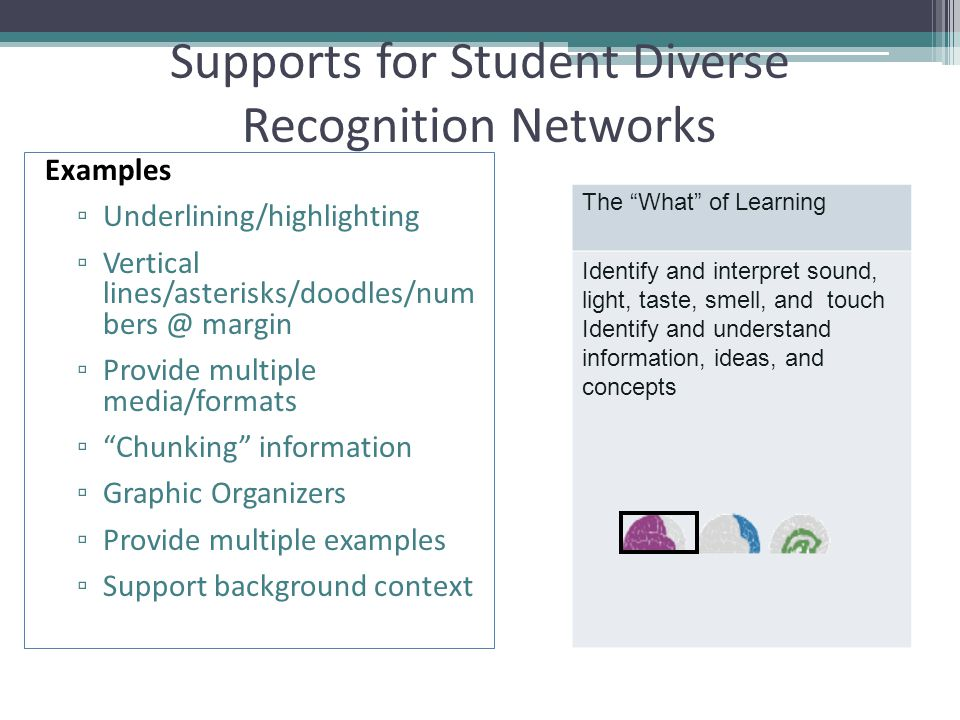 Supports for Student Diverse Recognition Networks Examples ▫ Underlining/highlighting ▫ Vertical lines/asterisks/doodles/num bers @ margin ▫ Provide multiple media/formats ▫ Chunking information ▫ Graphic Organizers ▫ Provide multiple examples ▫ Support background context The What of Learning Identify and interpret sound, light, taste, smell, and touch Identify and understand information, ideas, and concepts
