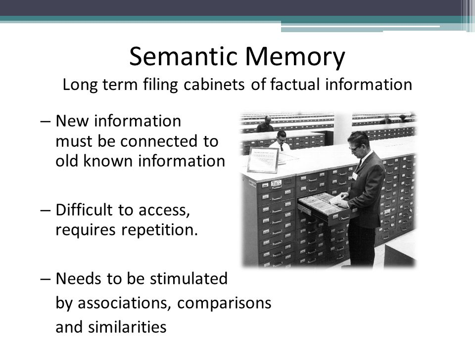 Semantic Memory Long term filing cabinets of factual information – New information must be connected to old known information – Difficult to access, requires repetition.