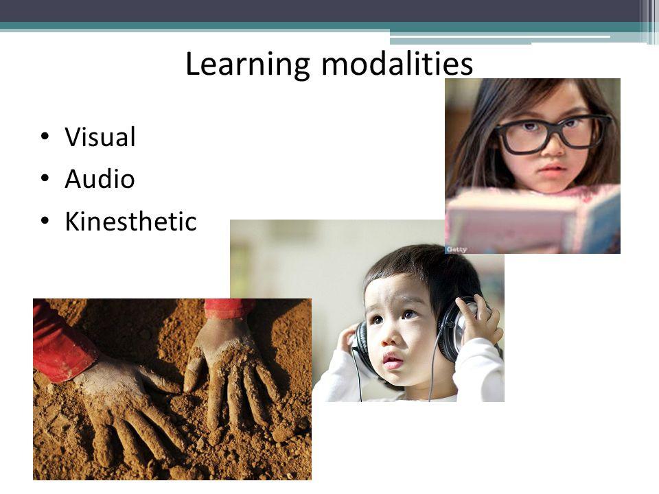 Learning modalities Visual Audio Kinesthetic