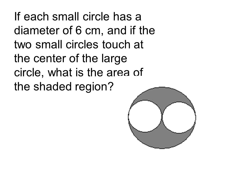 If each small circle has a diameter of 6 cm, and if the two small circles touch at the center of the large circle, what is the area of the shaded regi