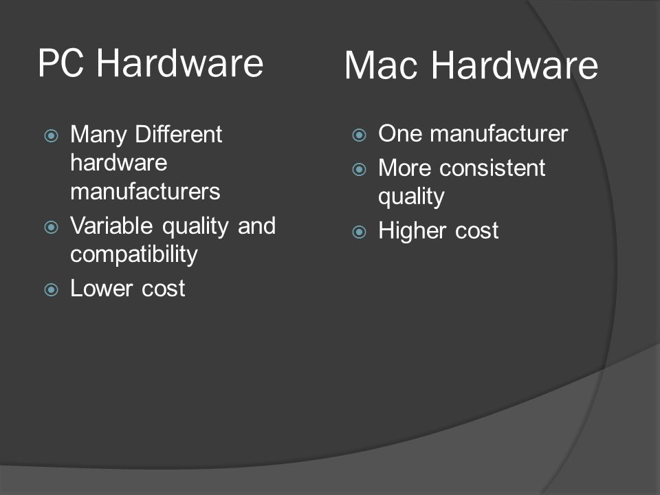 PC Hardware  Many Different hardware manufacturers  Variable quality and compatibility  Lower cost  One manufacturer  More consistent quality  Higher cost Mac Hardware
