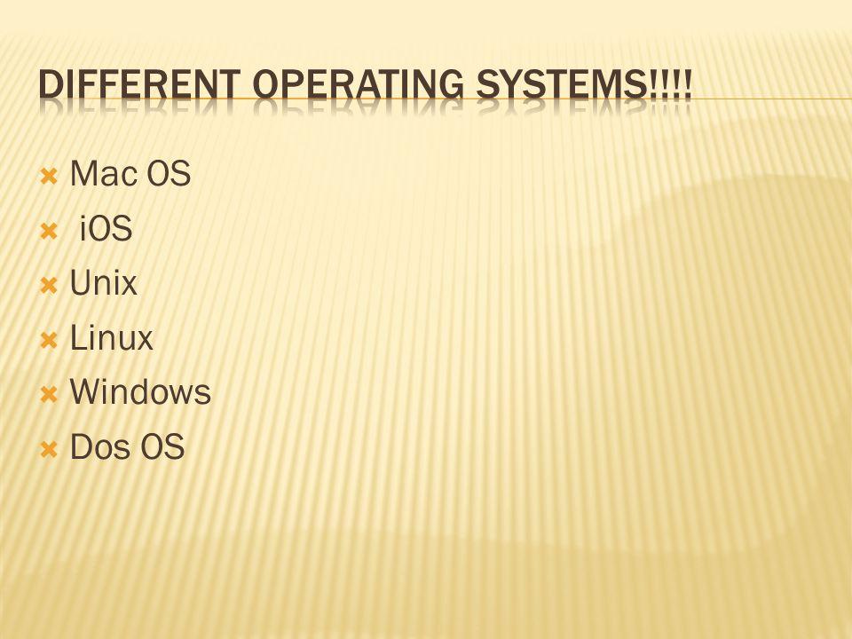  Mac OS  iOS  Unix  Linux  Windows  Dos OS