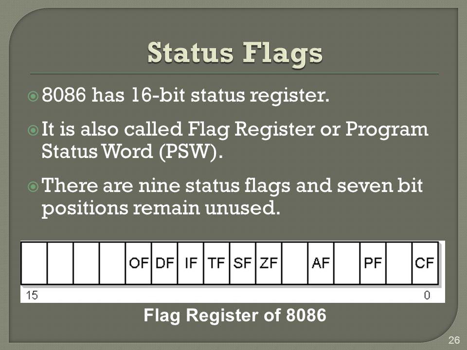26 Flag Register of 8086  8086 has 16-bit status register.