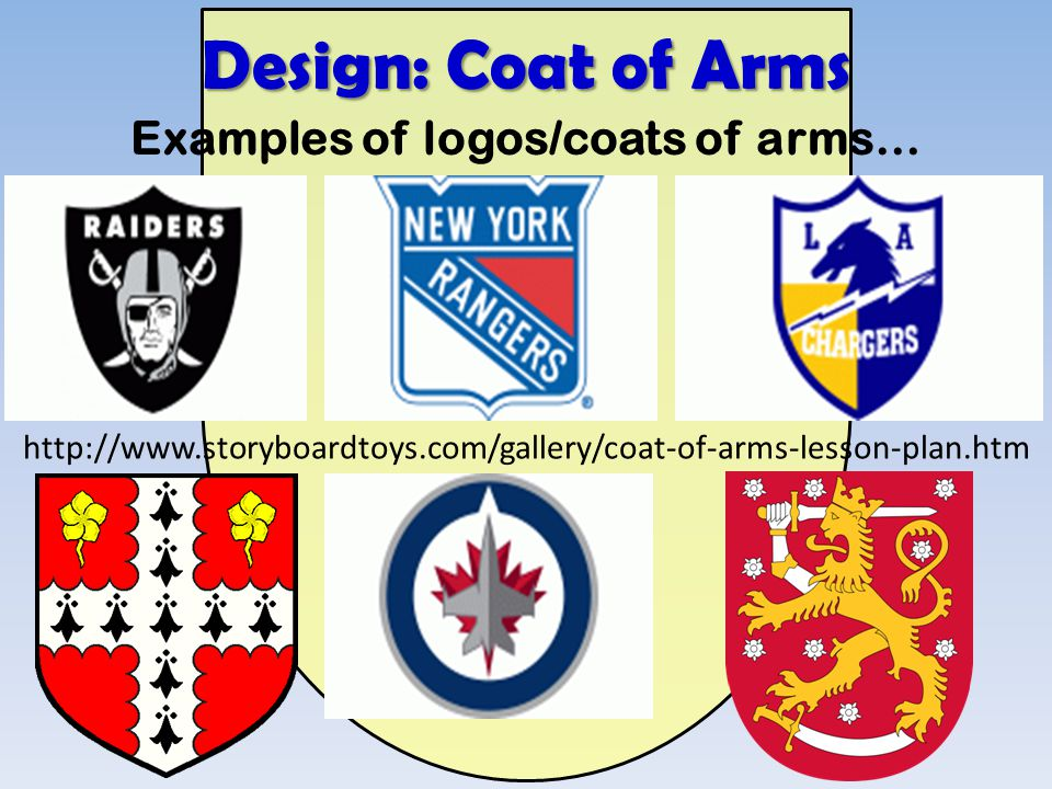 Examples of logos/coats of arms… http://www.storyboardtoys.com/gallery/coat-of-arms-lesson-plan.htm Design: Coat of Arms