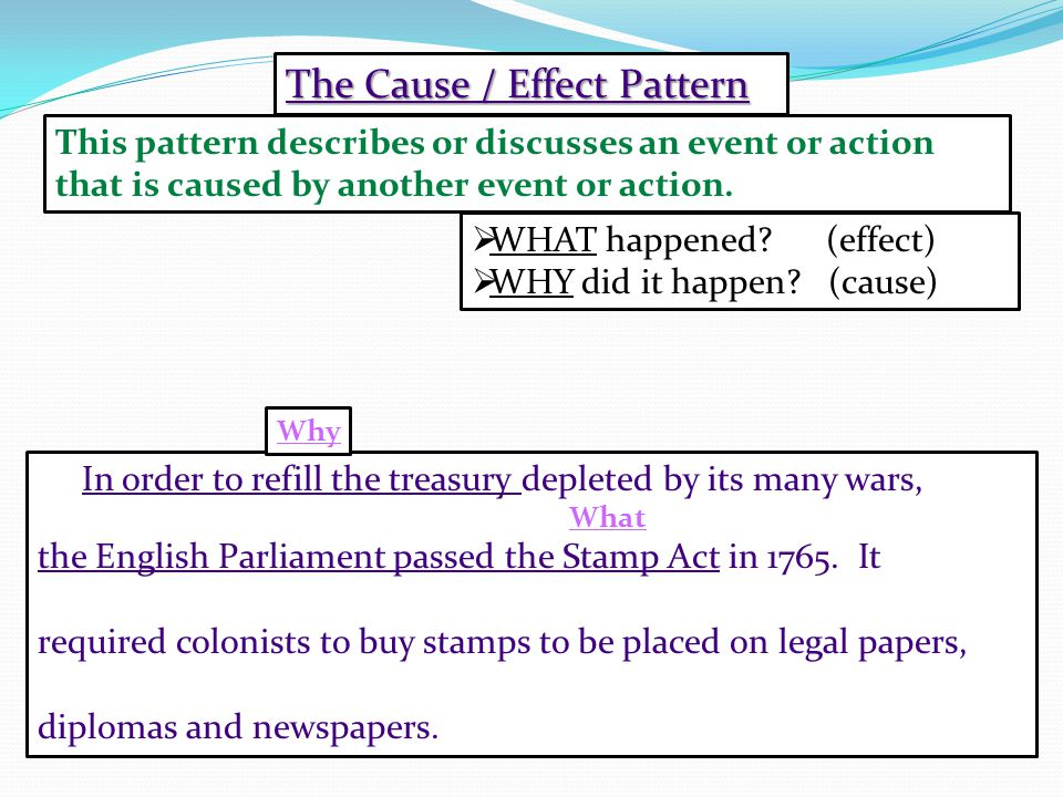 The Cause / Effect Pattern  WHAT happened. (effect)  WHY did it happen.