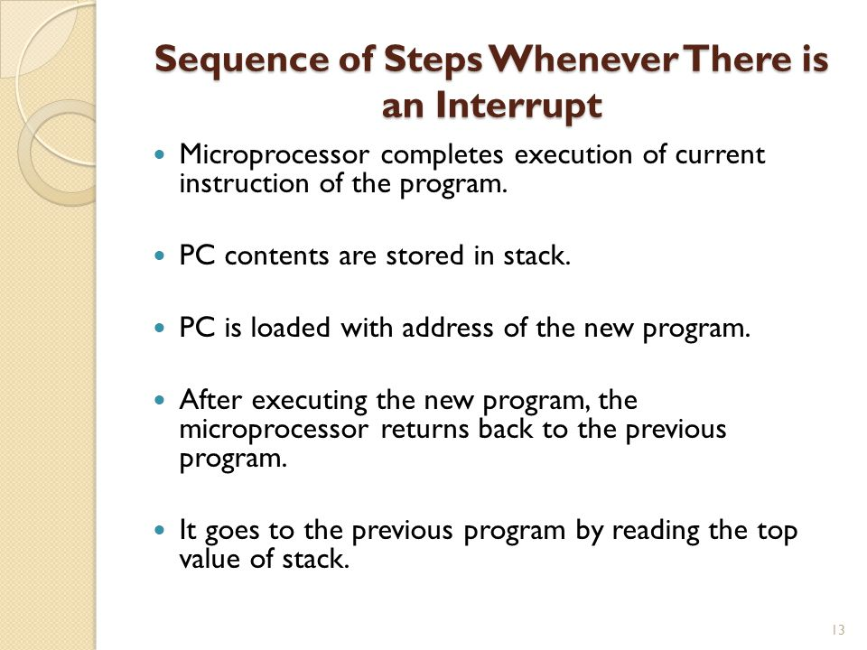 Sequence of Steps Whenever There is an Interrupt 13 Microprocessor completes execution of current instruction of the program.