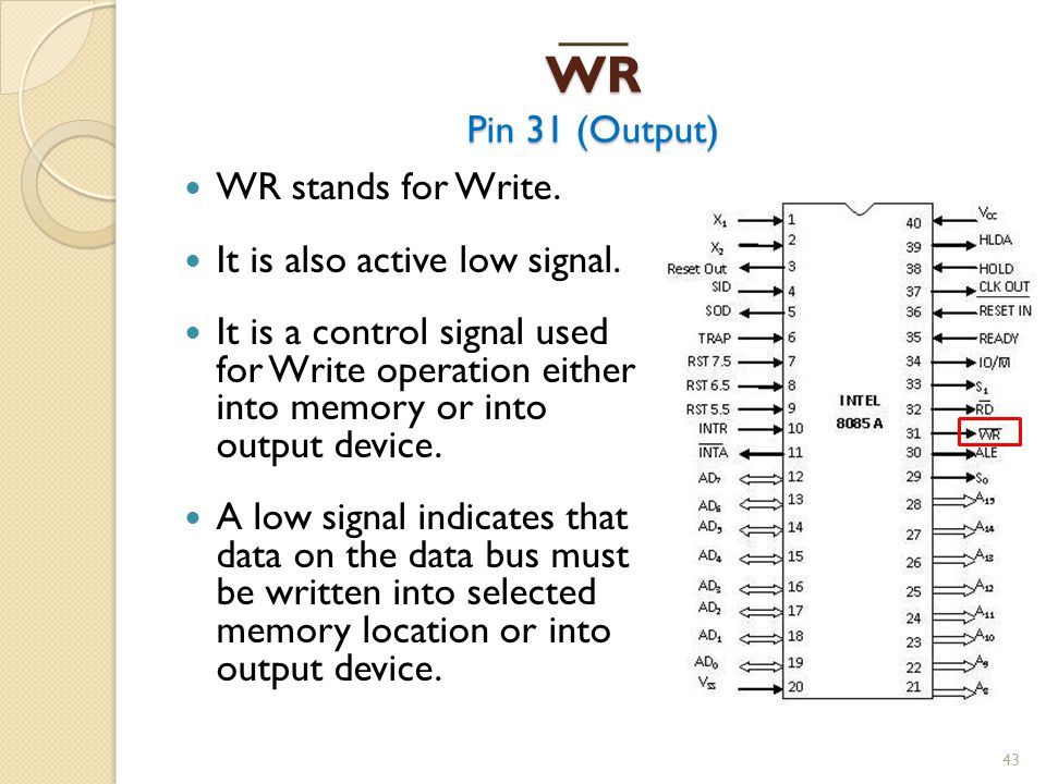 WR Pin 31 (Output) 43 WR stands for Write.It is also active low signal.