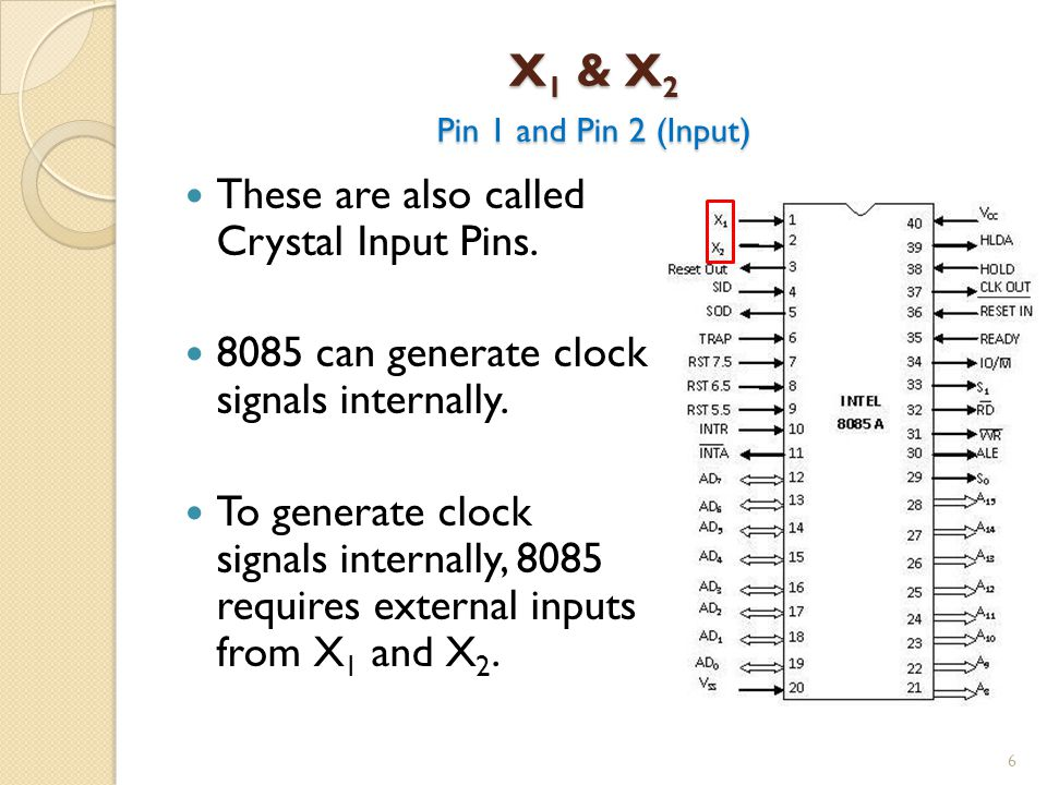X 1 & X 2 Pin 1 and Pin 2 (Input) 6 These are also called Crystal Input Pins.