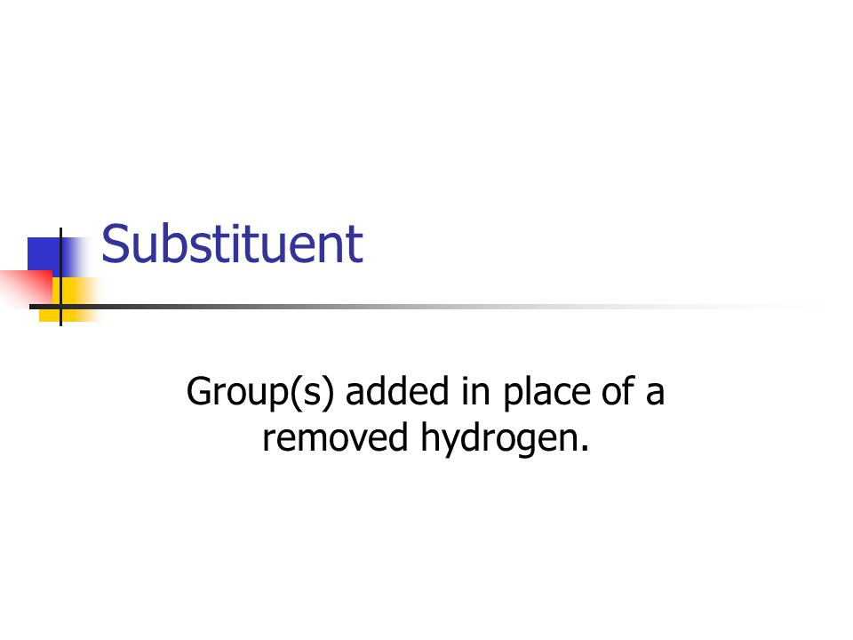 Substituent Group(s) added in place of a removed hydrogen.