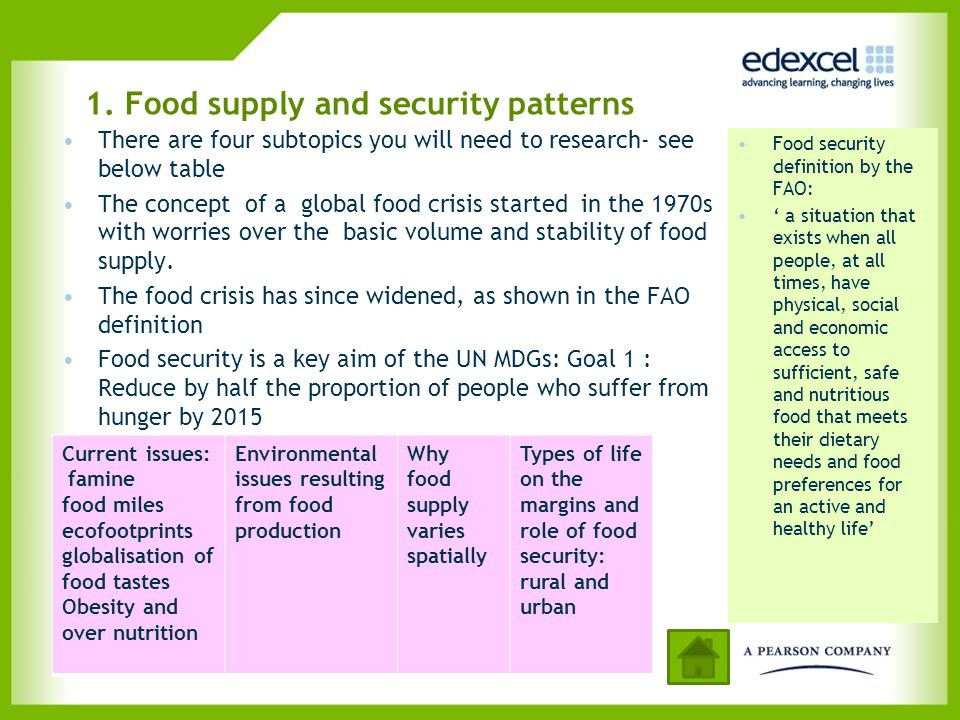 1. Food supply and security patterns Current issues: famine food miles ecofootprints globalisation of food tastes Obesity and over nutrition Environme