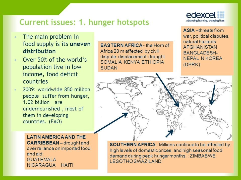 Current issues: 1. hunger hotspots The main problem in food supply is its uneven distribution Over 50% of the world's population live in low income, f
