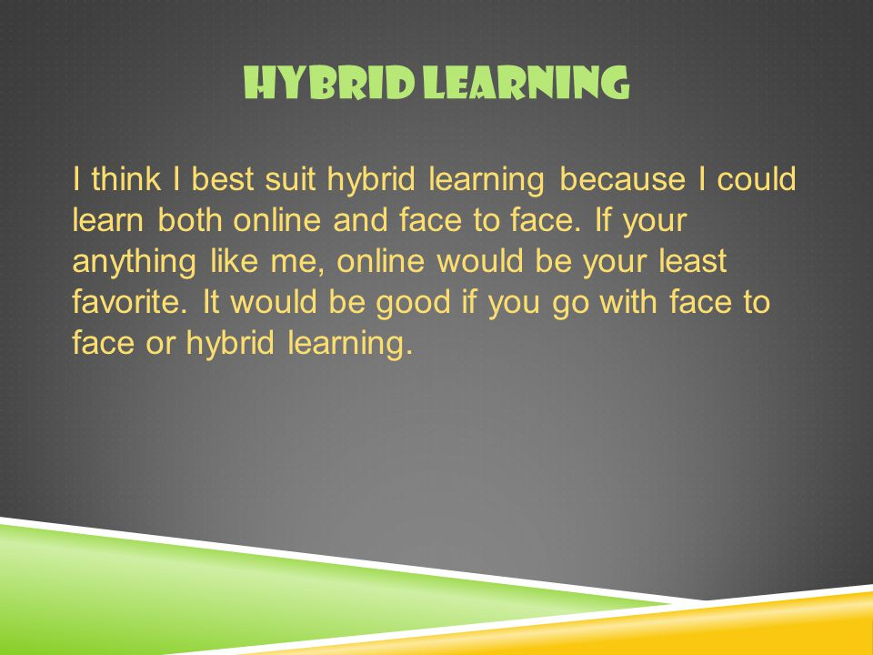 HYBRID LEARNING I think I best suit hybrid learning because I could learn both online and face to face.