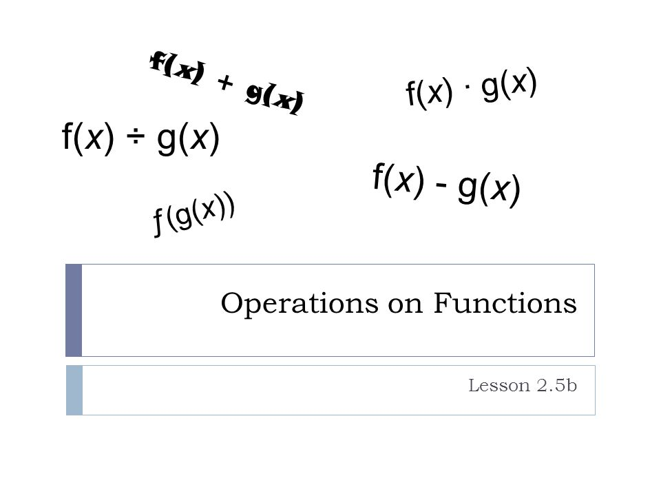 Operations on Functions Lesson 2.5b ƒ(g(x)) f(x) + g(x) f(x) - g(x) f(x) ÷ g(x) f(x) ∙ g(x)