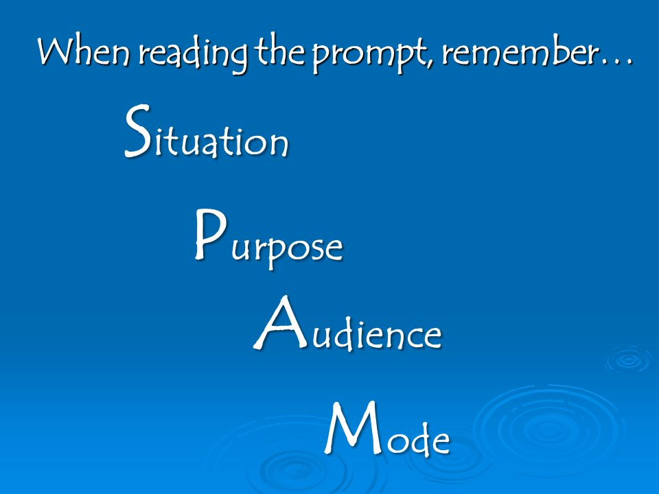 When reading the prompt, remember… S ituation P urpose A udience M ode
