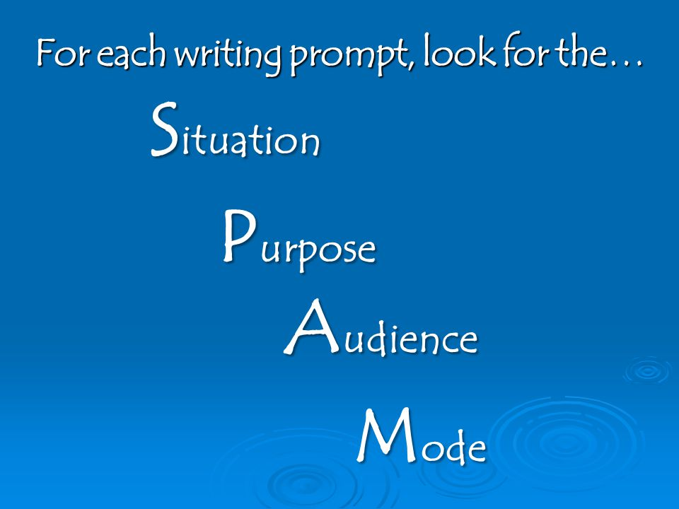 For each writing prompt, look for the… S ituation P urpose A udience M ode