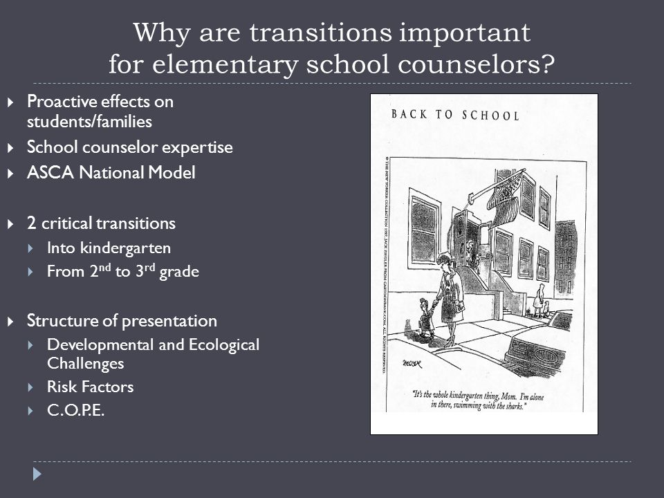 Why are transitions important for elementary school counselors.