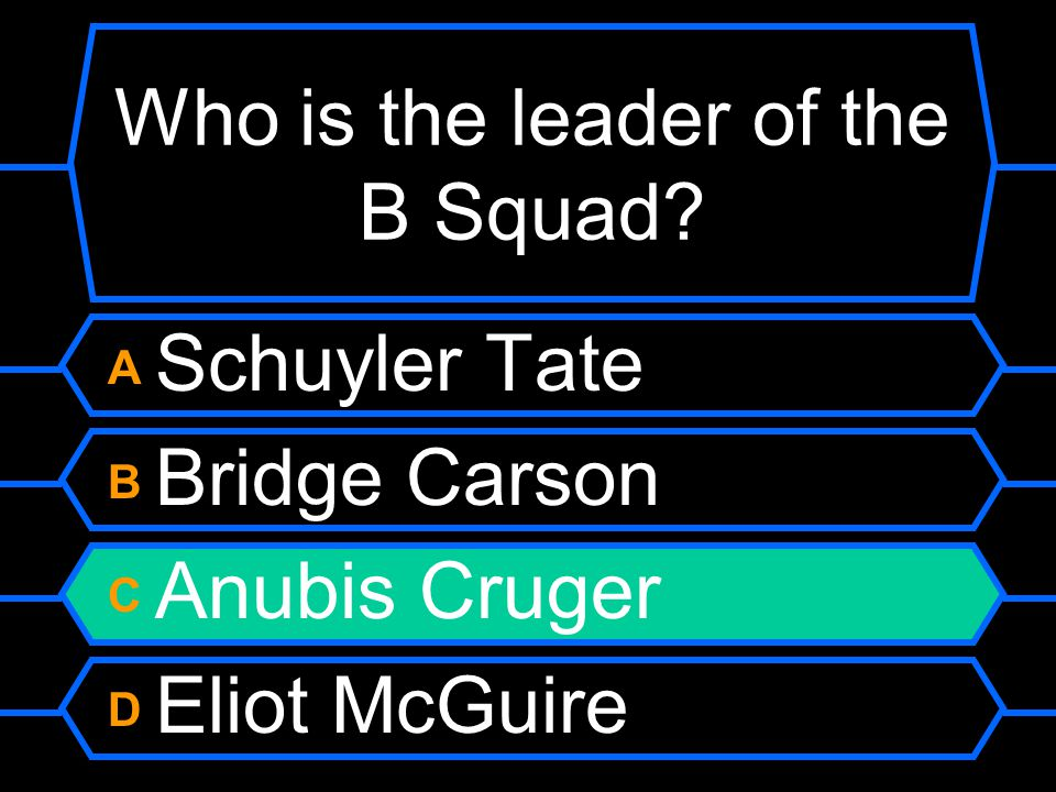 Who is the leader of the B Squad A Schuyler Tate B Bridge Carson C Anubis Cruger D Eliot McGuire