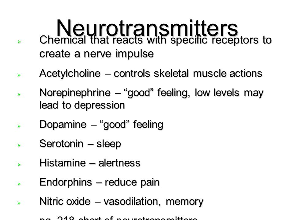 Neurotransmitters  Chemical that reacts with specific receptors to create a nerve impulse  Acetylcholine – controls skeletal muscle actions  Norepi
