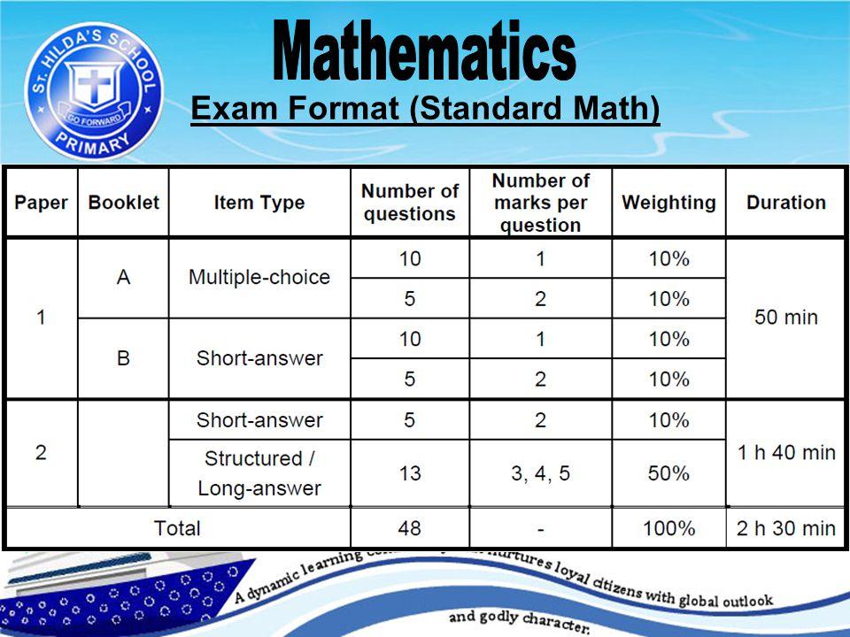 Exam Format (Standard Math) Important.