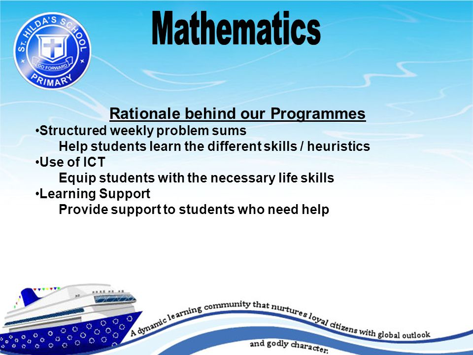 Rationale behind our Programmes Structured weekly problem sums Help students learn the different skills / heuristics Use of ICT Equip students with the necessary life skills Learning Support Provide support to students who need help