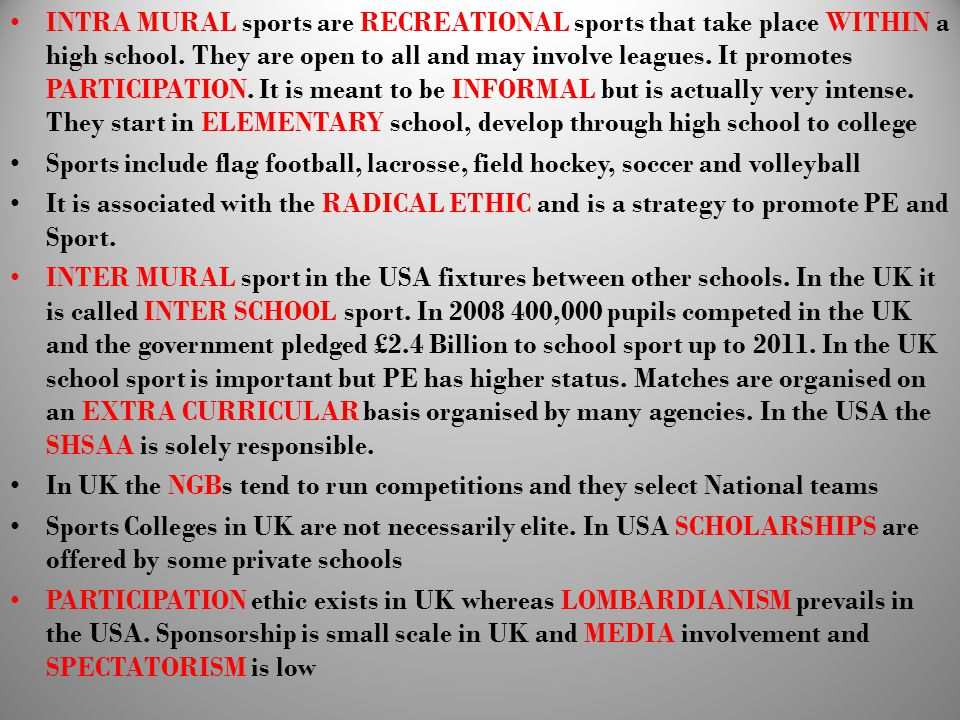 Whilst PE in the USA is in crisis HIGH SCHOOL INTER MURAL or INTRA MURAL SPORT is very strong.