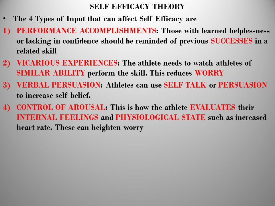 SELF EFFICACY THEORY The 4 Types of Input that can affect Self Efficacy are 1)PERFORMANCE ACCOMPLISHMENTS: Those with learned helplessness or lacking