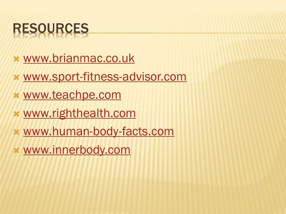  www.brianmac.co.uk www.brianmac.co.uk  www.sport-fitness-advisor.com www.sport-fitness-advisor.com  www.teachpe.com www.teachpe.com  www.righthea