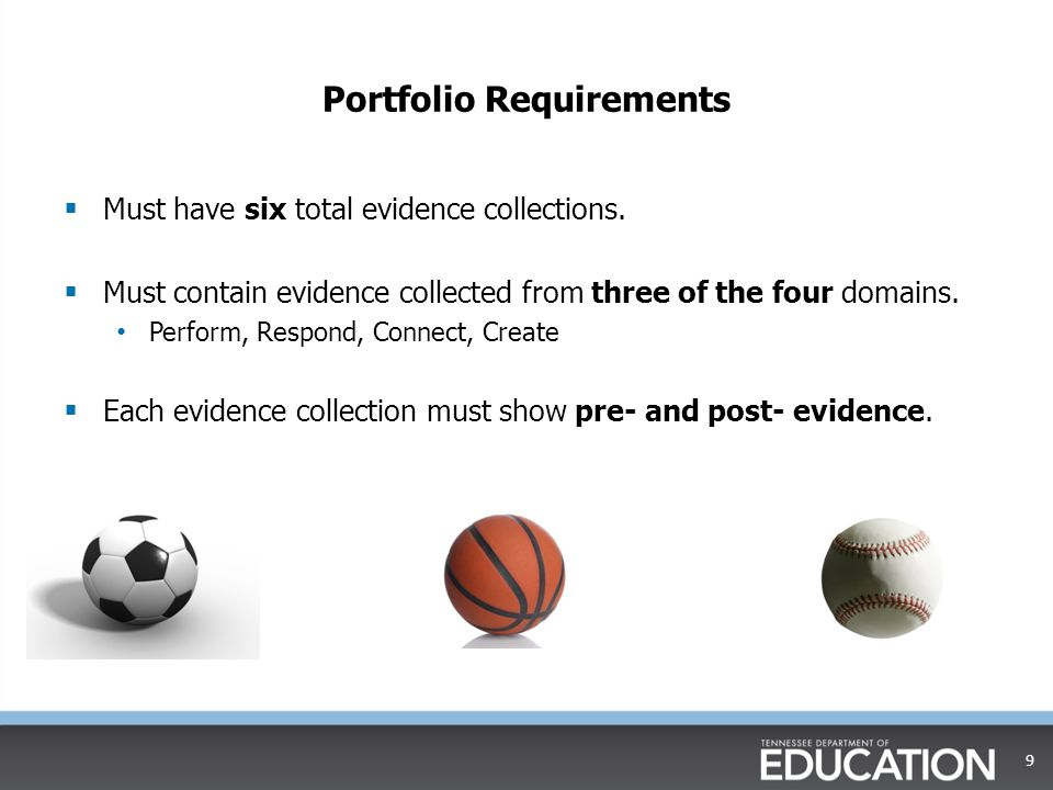Portfolio Requirements  Must have six total evidence collections.