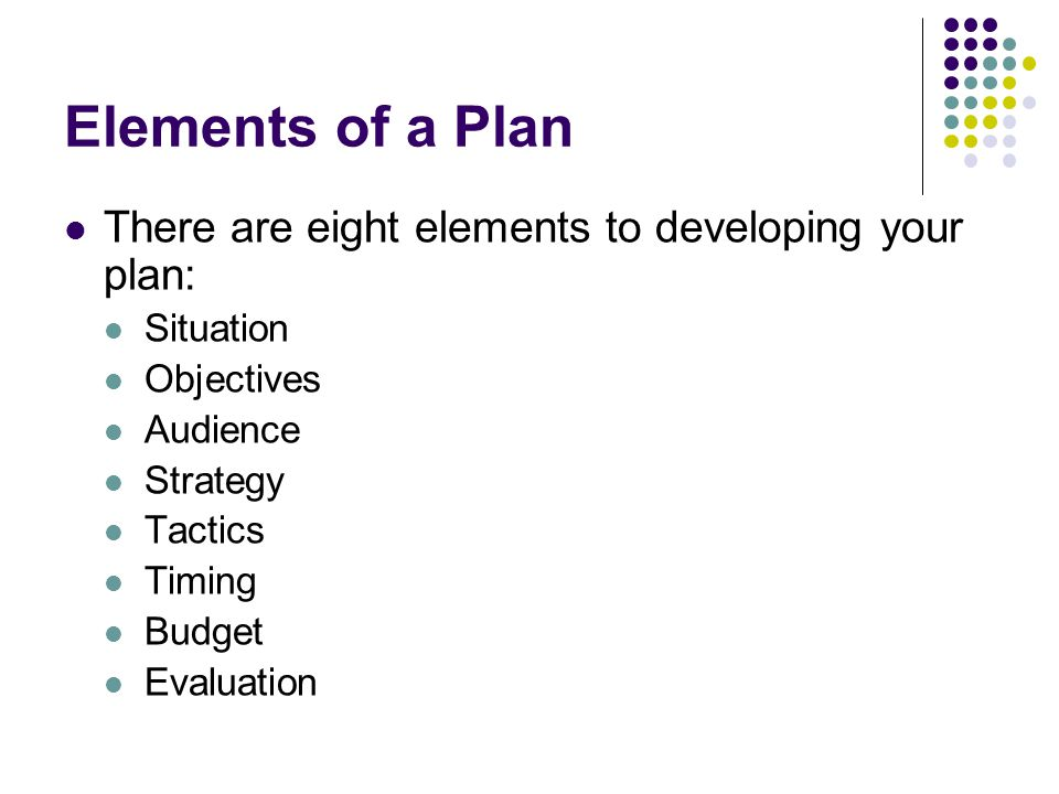 Elements of a Plan There are eight elements to developing your plan: Situation Objectives Audience Strategy Tactics Timing Budget Evaluation