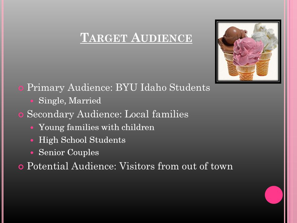 T ARGET A UDIENCE Primary Audience: BYU Idaho Students Single, Married Secondary Audience: Local families Young families with children High School Stu