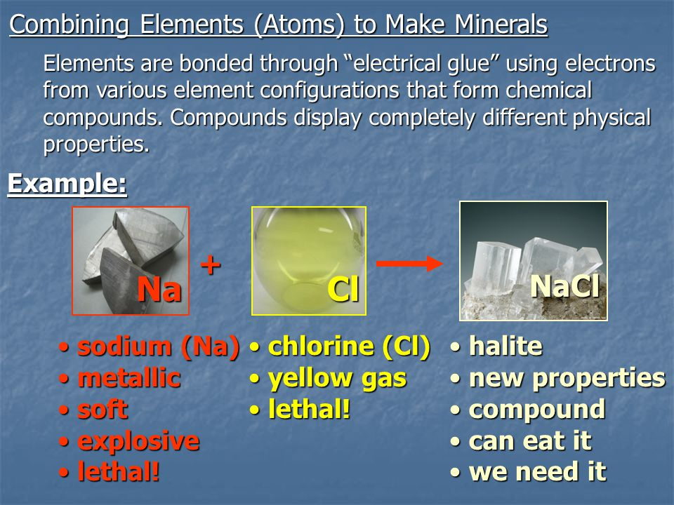 """Combining Elements (Atoms) to Make Minerals Elements are bonded through """"electrical glue"""" using electrons from various element configurations that for"""