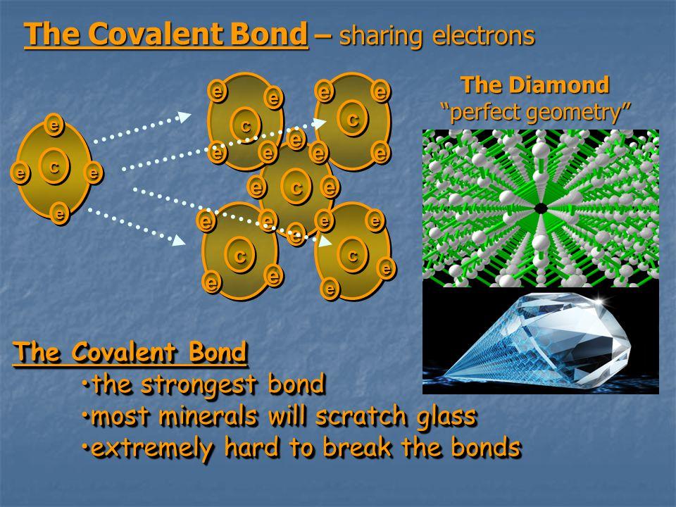 """The Covalent Bond – sharing electrons ee ee eeee cc ee ee ee ee cc ee ee eeee cc ee ee eeee cc eeee eeee cc ee ee eeee cc The Diamond """"perfect geometr"""