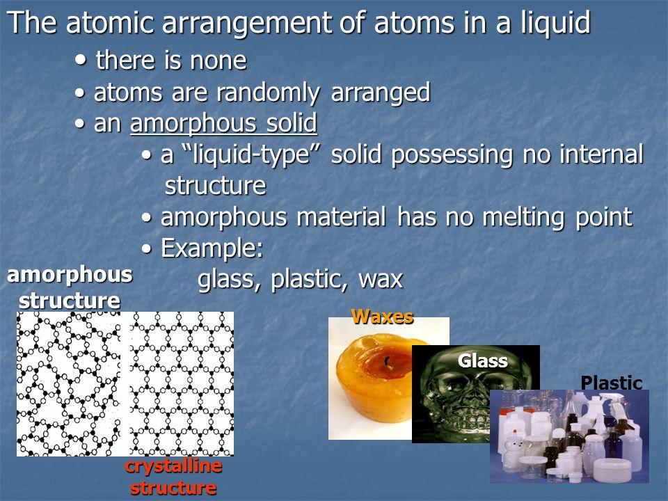 The atomic arrangement of atoms in a liquid there is none there is none atoms are randomly arranged atoms are randomly arranged an amorphous solid an