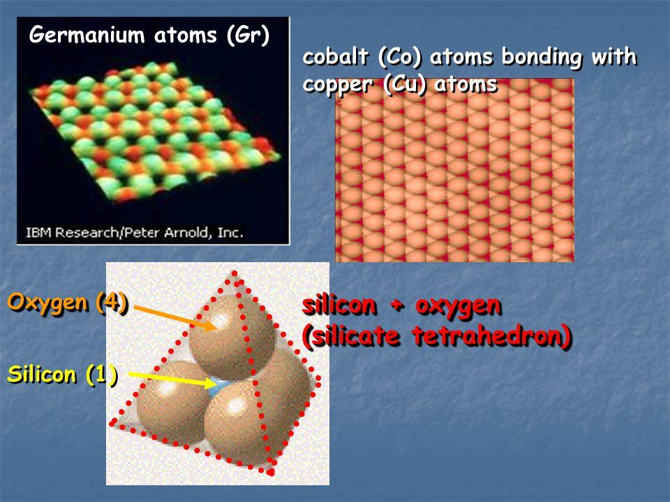 Germanium atoms (Gr) cobalt (Co) atoms bonding with copper (Cu) atoms cobalt (Co) atoms bonding with copper (Cu) atoms silicon + oxygen (silicate tetr