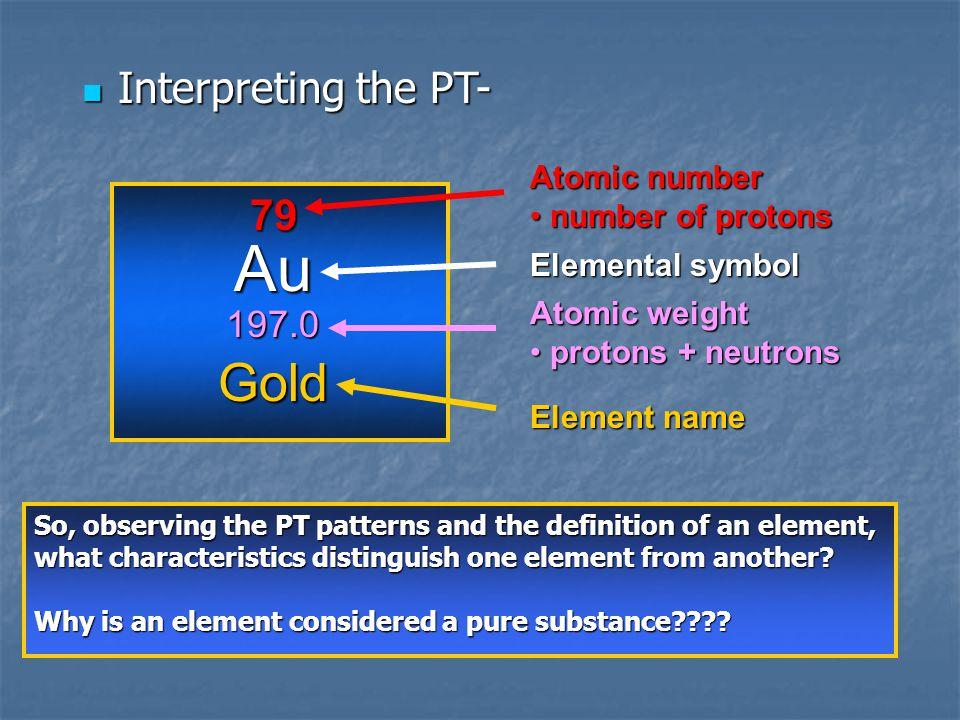 Interpreting the PT- Interpreting the PT- 79 Au 197.0 Gold Atomic number number of protons number of protons Elemental symbol Atomic weight protons +