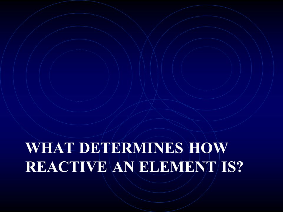 WHAT DETERMINES HOW REACTIVE AN ELEMENT IS?