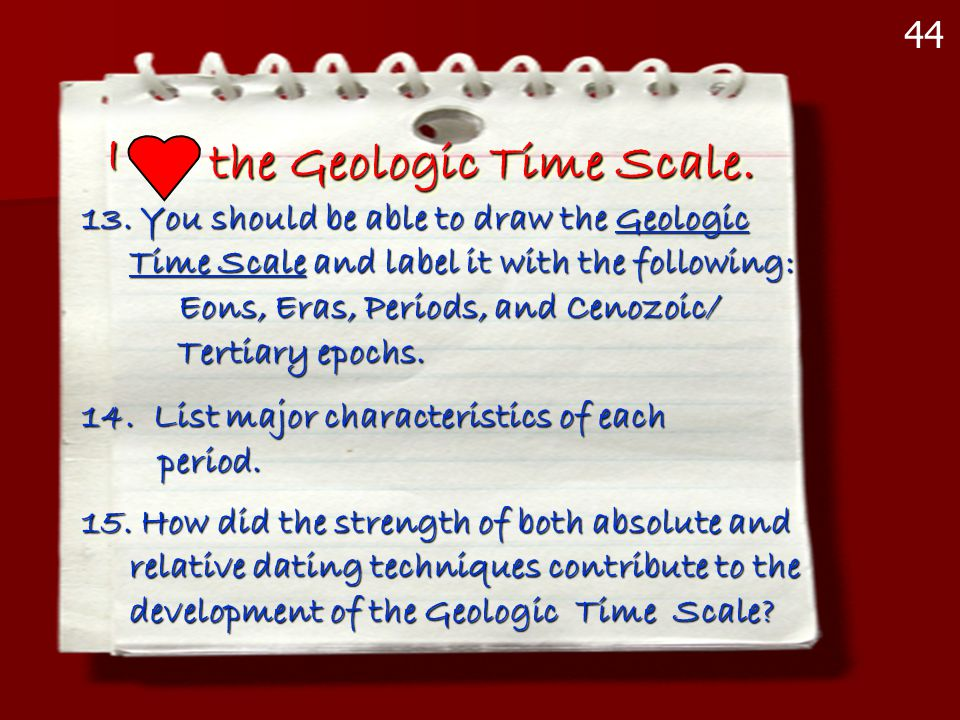 II the Geologic Time Scale. 13. You should be able to draw the Geologic Time Scale and label it with the following: Time Scale and label it with the f