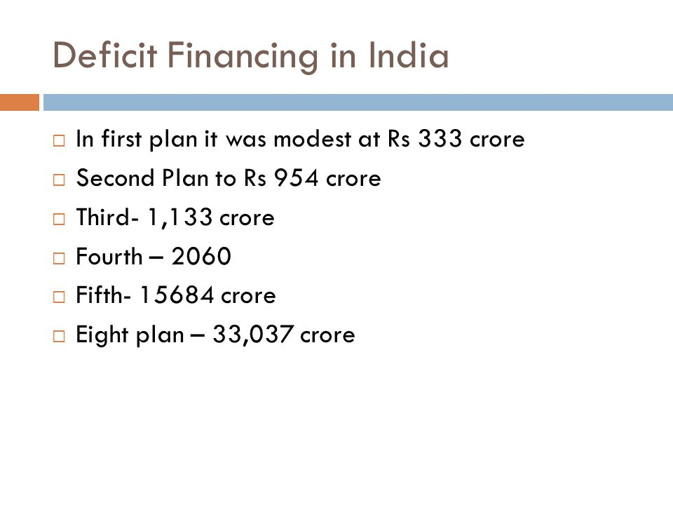 Deficit Financing in India  In first plan it was modest at Rs 333 crore  Second Plan to Rs 954 crore  Third- 1,133 crore  Fourth – 2060  Fifth- 15684 crore  Eight plan – 33,037 crore