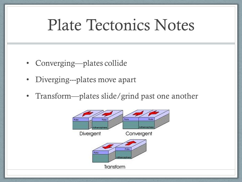 Plate Tectonics Notes Converging—plates collide Diverging---plates move apart Transform—plates slide/grind past one another