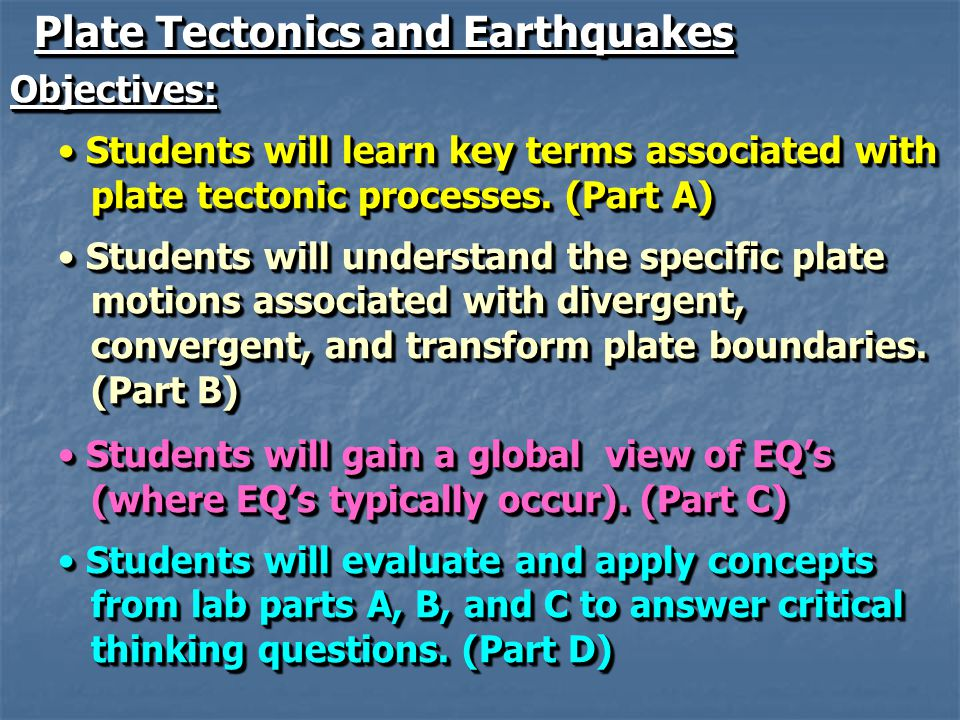 Plate Tectonics and Earthquakes Objectives: Students will learn key terms associated with Students will learn key terms associated with plate tectonic processes.