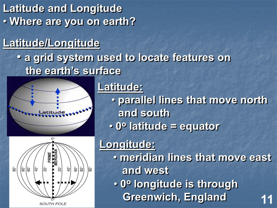 Latitude and Longitude Where are you on earth. Latitude and Longitude Where are you on earth.