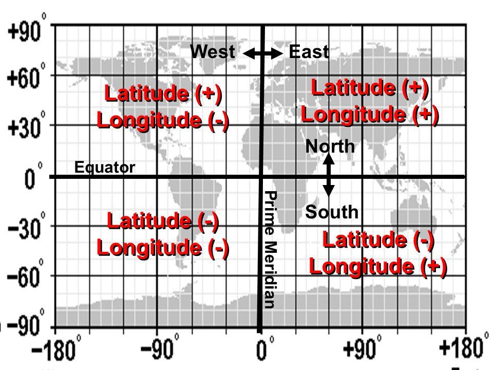 Latitude (+) Longitude (-) Latitude (+) Longitude (-) Latitude (-) Longitude (-) Latitude (-) Longitude (-) EastWest North South Latitude (+) Longitude (+) Latitude (+) Longitude (+) Equator Prime Meridian Latitude ( Latitude (-) Longitude (+) Latitude (-) Longitude (+)