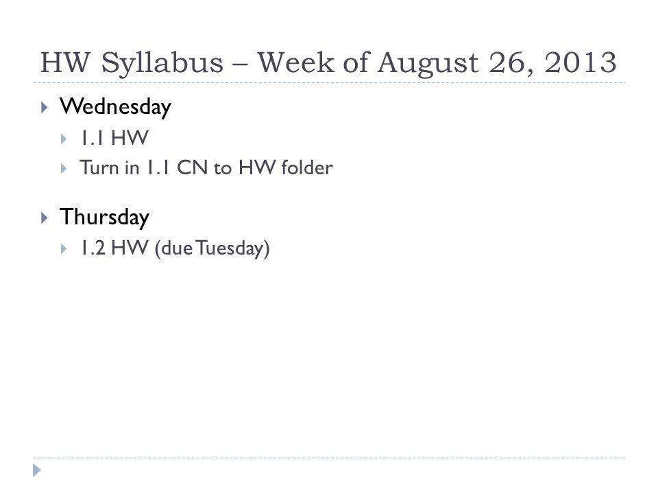 HW Syllabus – Week of August 26, 2013  Wednesday  1.1 HW  Turn in 1.1 CN to HW folder  Thursday  1.2 HW (due Tuesday)