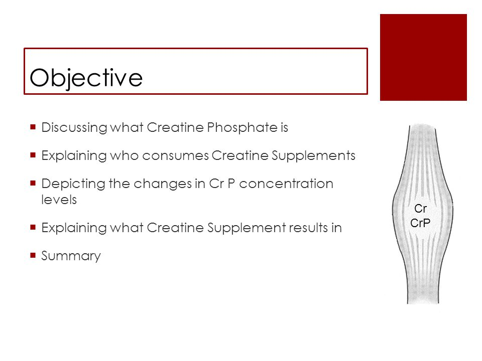 Objective  Discussing what Creatine Phosphate is  Explaining who consumes Creatine Supplements  Depicting the changes in Cr P concentration levels  Explaining what Creatine Supplement results in  Summary Cr CrP