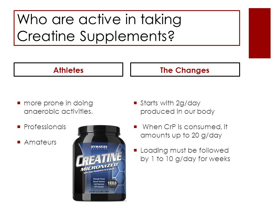 Testing the outcome from Creatine Supplementing…  a double-blind study…  Subjects consuming Cr P Capsules  Subjects consuming the Placebo Capsules