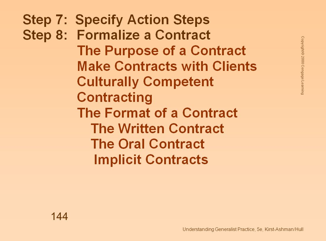 Copyright © 2008 Cengage Learning Understanding Generalist Practice, 5e, Kirst-Ashman/Hull 144