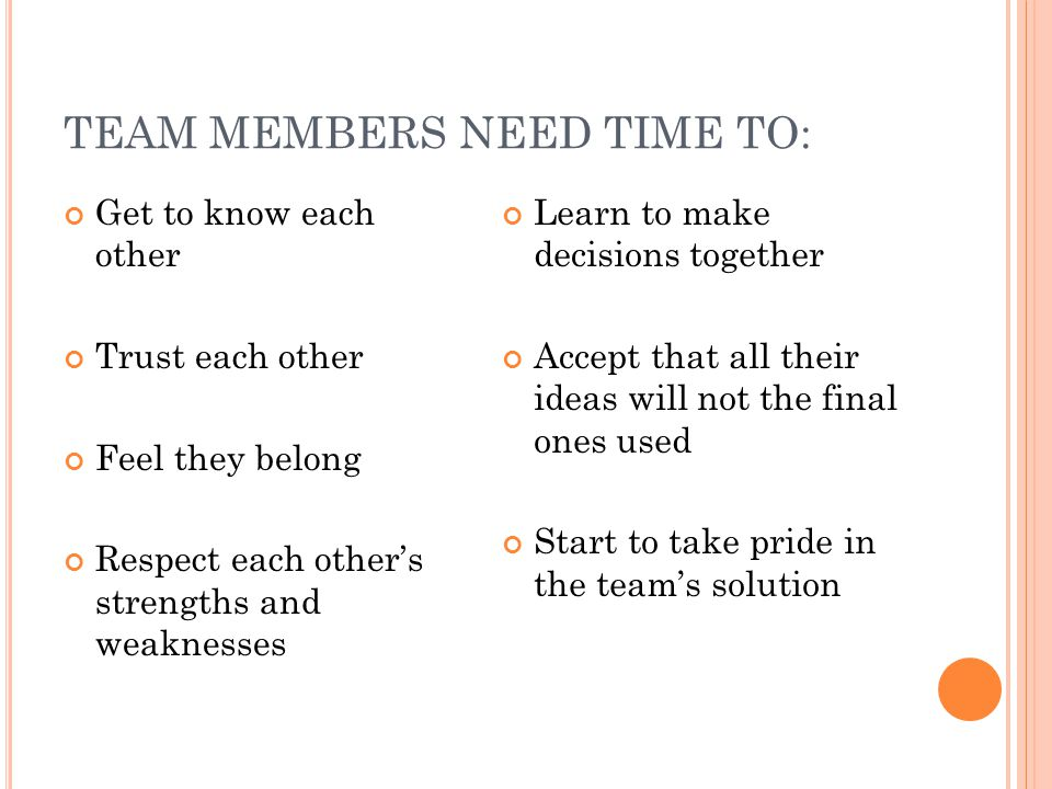 TEAM BUILDING IDEAS Help each other be right - not wrong Look for ways to make new ideas work - not reasons why they won't work Help each other achieve and take pride in each other's progress and growth Try to maintain a positive mental attitude Do everything with enthusiasm - it is contagious Whatever you want - give it away.