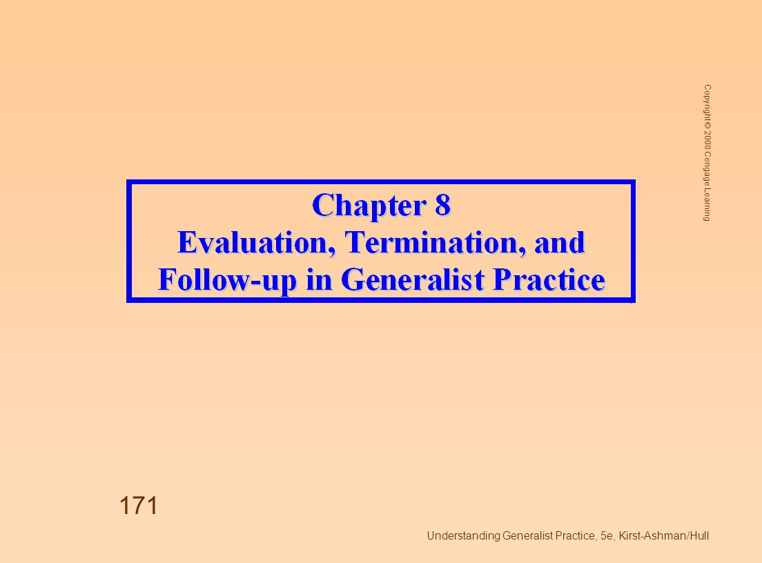 Copyright © 2008 Cengage Learning Understanding Generalist Practice, 5e, Kirst-Ashman/Hull 172