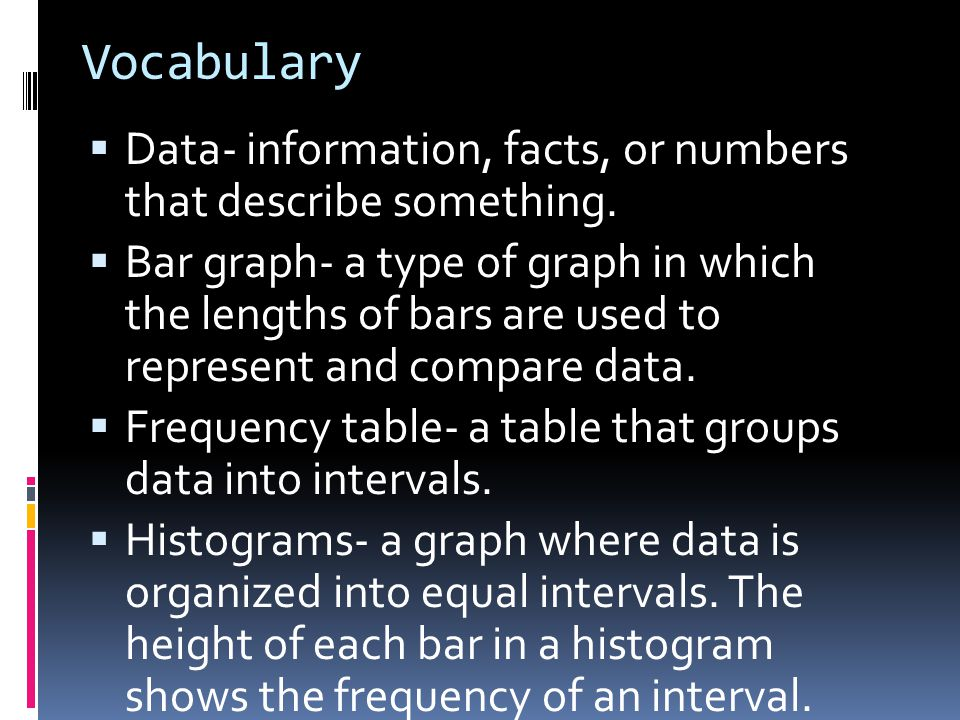Vocabulary  Data- information, facts, or numbers that describe something.  Bar graph- a type of graph in which the lengths of bars are used to repre