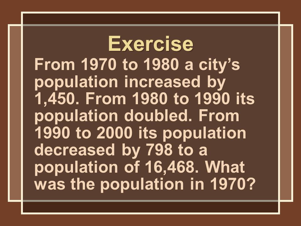 From 1970 to 1980 a city's population increased by 1,450.